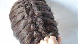Французская коса из 5 прядей French braid five strands способ, 2