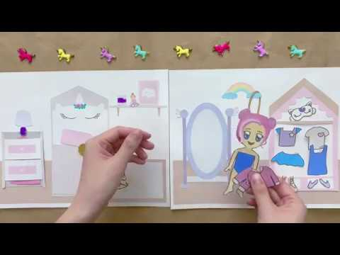 Unicorn Paper Doll House, Bedroom, and Dress Up