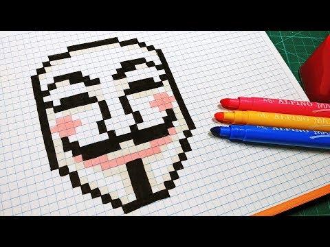 Handmade Pixel Art - How To Draw V for Vendetta #pixelart
