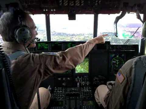 Cockpit video of a C130J landing at Farnborough.