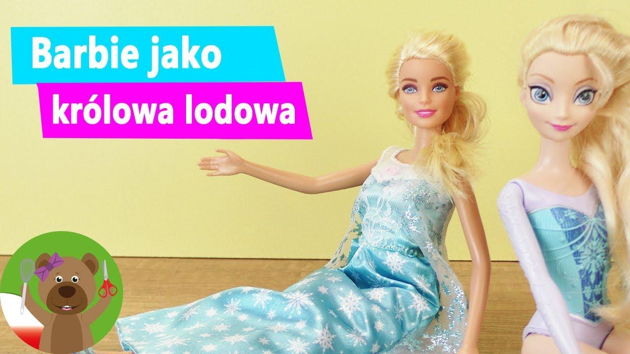 DIY Barbie przebiera się za Elsę z Krainy Lodu | Moda dla lalek