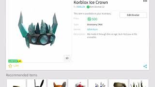 Roblox | NEW LMITED KORBLOX ICE CROWN BOUGHT. Worth buying? Easy profit?