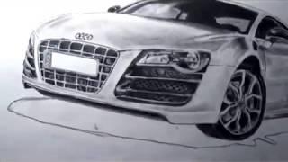 تعلم رسم سيارة أودي Audi R8 بالرصاص  خطوة خطوة ..