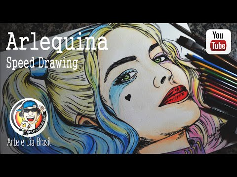Arlequina Esquadrao Suicida Speed Drawing Youtube