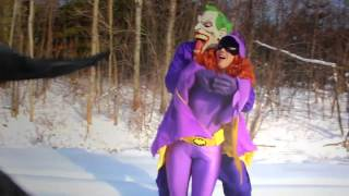 batman vs the joker vs batgirl with spiderman batman kisses batgirl in real life superhero