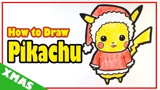 How to Draw Pikachu from Pokemon - Christmas Drawings
