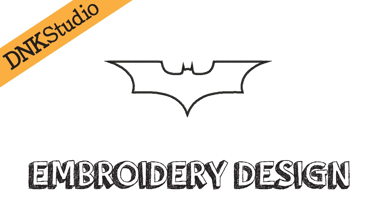 Batman Bat Symbol Applique Outline Machine Embroidery Design
