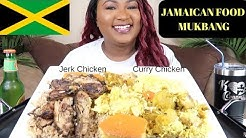 JAMAICAN FOOD MUKBANG , CURRY CHICKEN , JERK CHICKEN