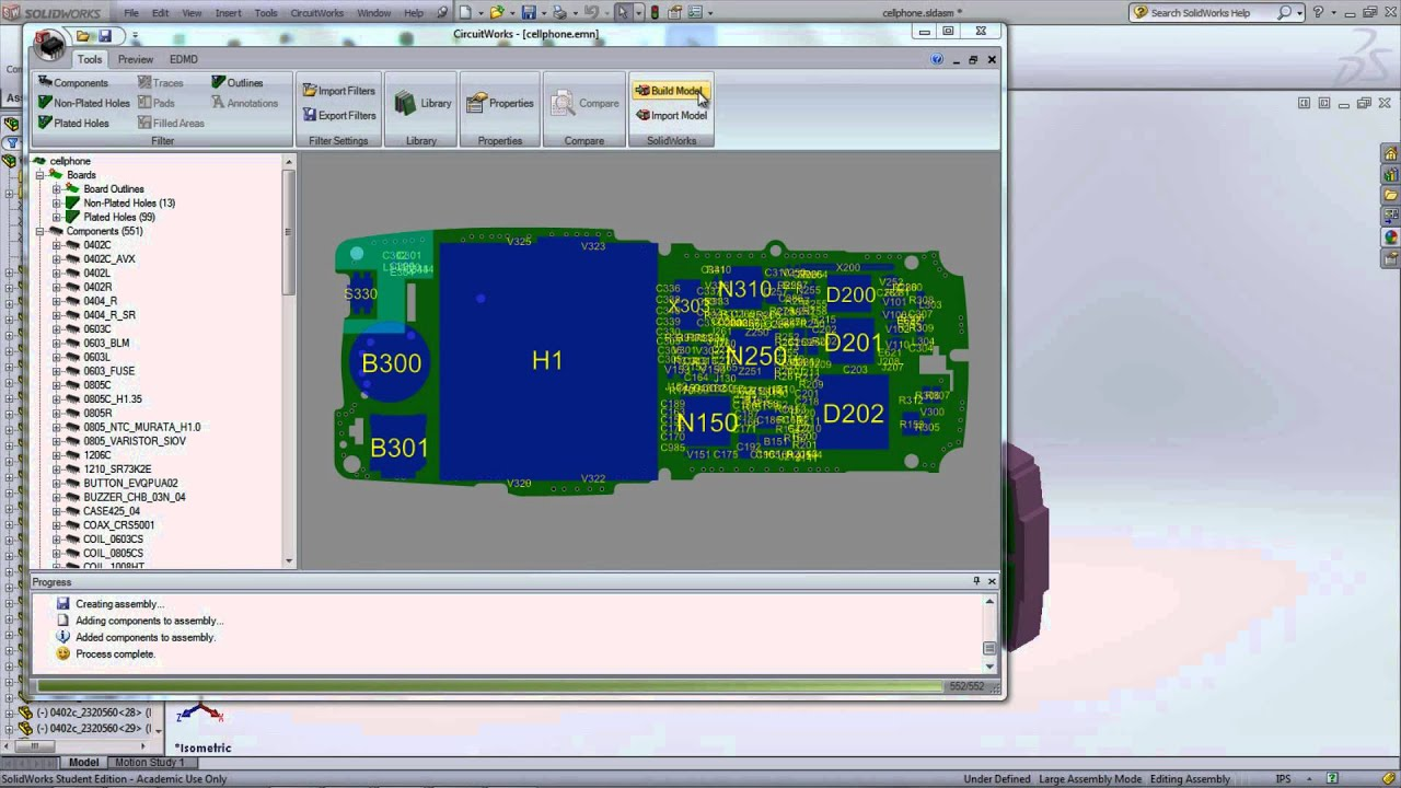 Converting Printed Circuit Board Designs into SolidWorks Assemblies using  CircuitWorks