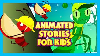 Animated Stories for Kids - Cartoon Stories | Ant and Grasshopper | Short Stories for KIDS