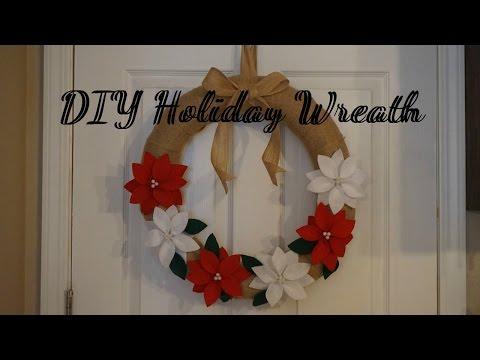 DIY Christmas Wreath / Felt Poinsettia Flowers / Holiday Decoration