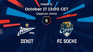 Zenit vs FC Sochi, Week 11 | English Commentary | RPL 2020/21