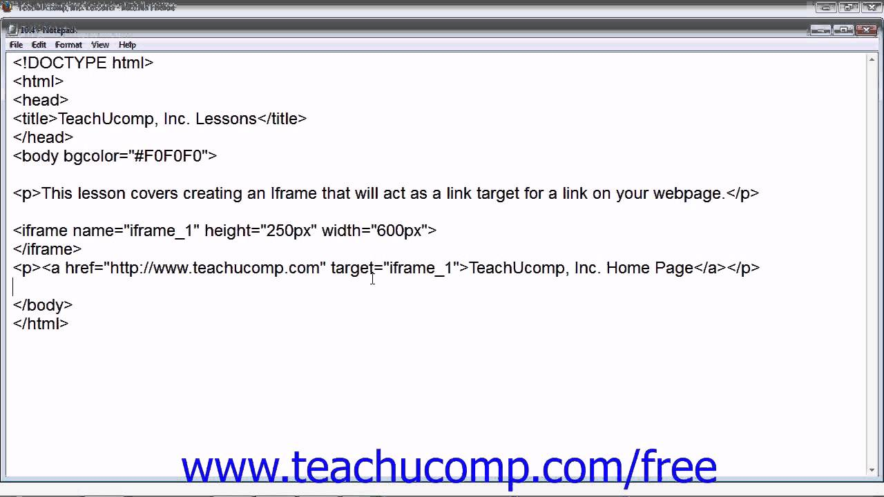 HTML5 and CSS3 Tutorial Using an Iframe for a Link Target Training ...
