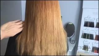 Наращивание на пушистые волосы с замещением цвета без окрашивания!