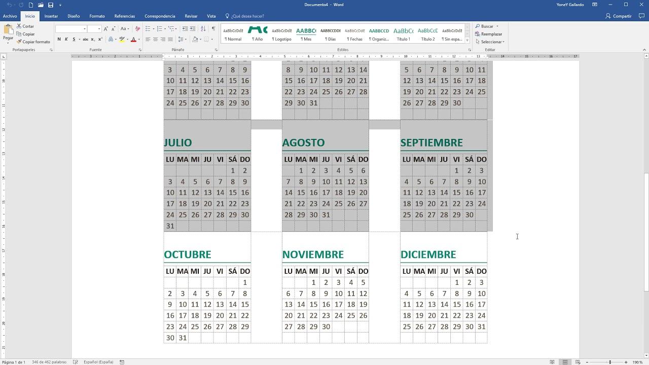 Calendario Word 2020.Como Insertar Un Calendario En Word