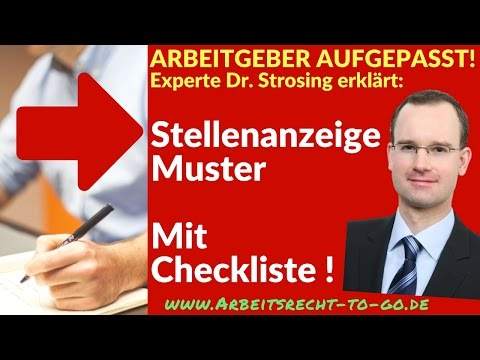 Stellenausschreibung Muster - Mit Checkliste !
