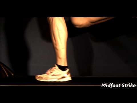 Heel strike, mid foot strike and fore foot strike in slow motion.