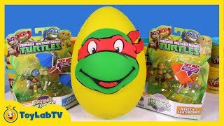 Giant TMNT Play Doh Surprise Egg With Lego SpongeBob Big Hero 6 Toys
