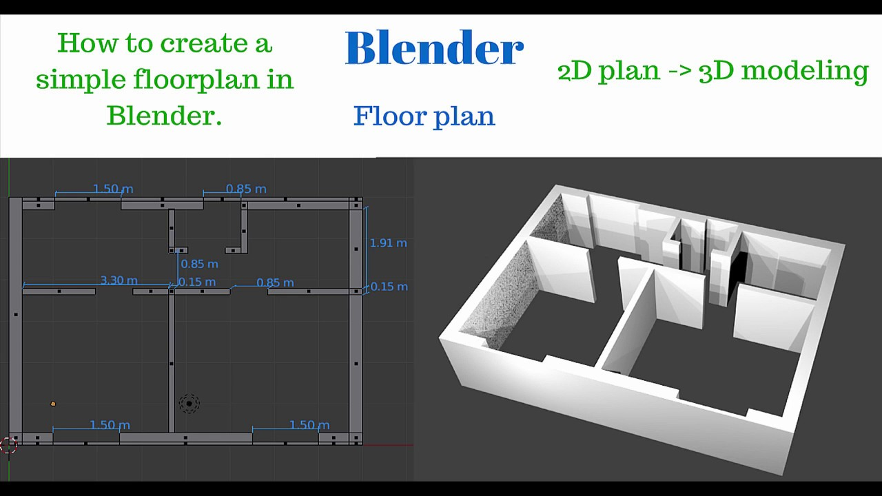 Blender how to create 2d floor plan and 3d house basic for Turn floor plan into 3d model