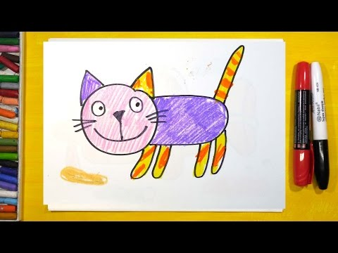 Как быстро нарисовать кошку для детей