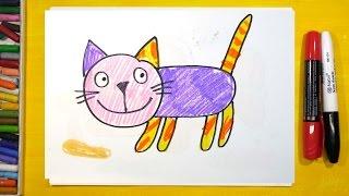 Как нарисовать Кошку, Урок рисования для детей от 3 лет