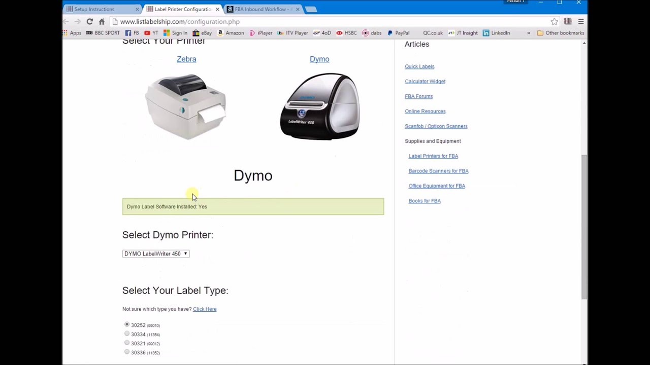 How to use ListLabelShip com to print out FBA barcode labels on a Dymo -  Make Money Reselling Online