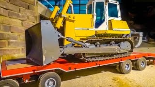 RC truck HEAVY transport! R/C Dozer delivery to the construction site!