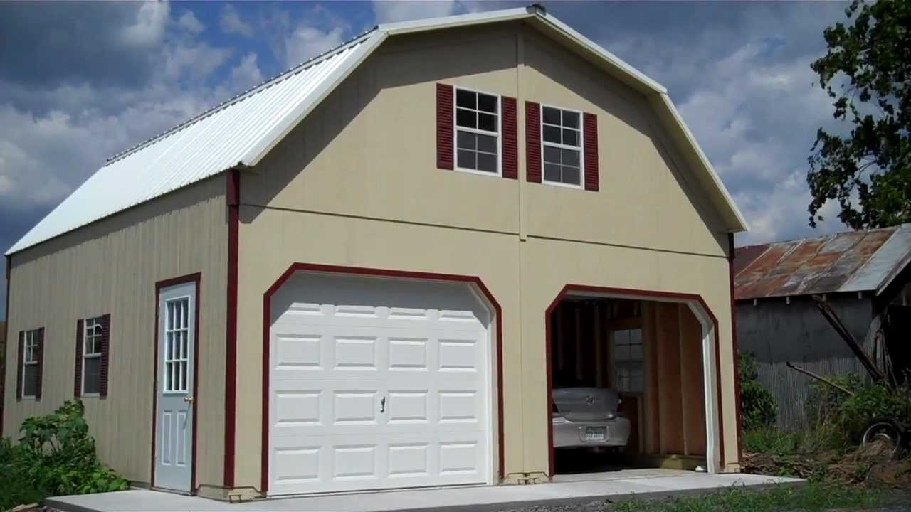 Amish built 2 story garage youtube for Two car garage with loft cost