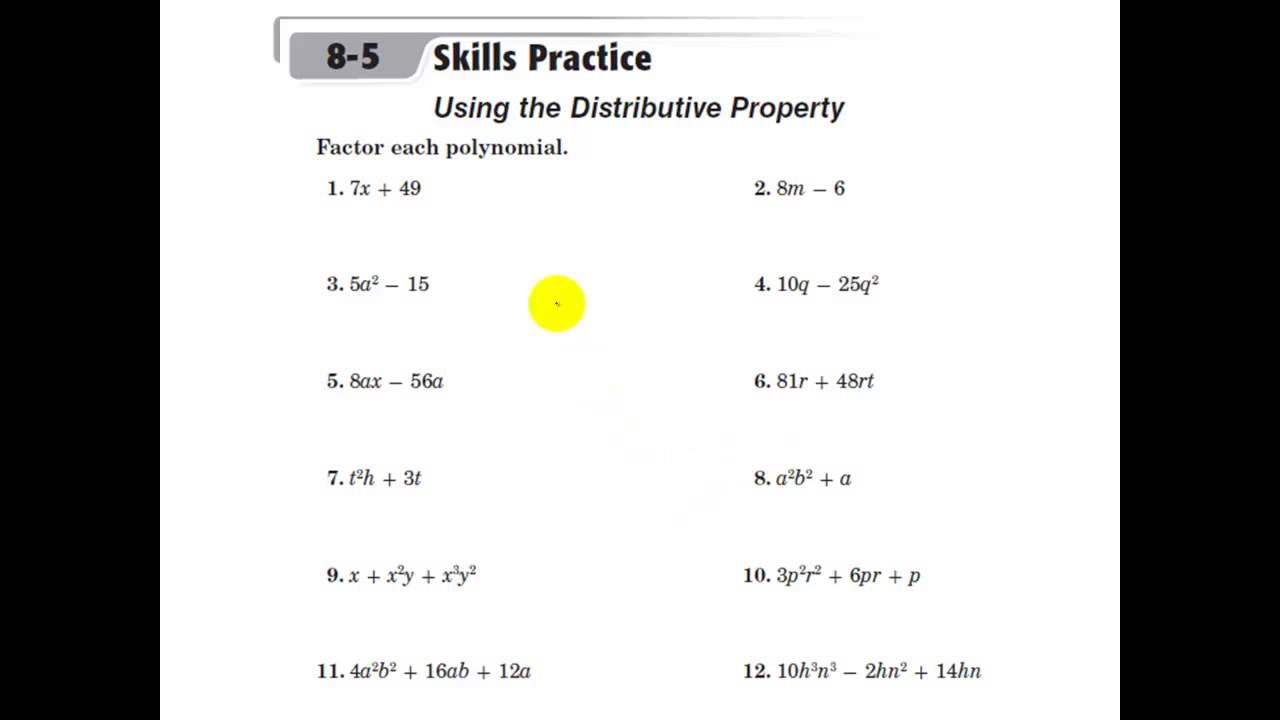 worksheet Simplifying Expressions Using The Distributive Property Worksheet glencoe algebra 1 using the distributive property factoring factoring