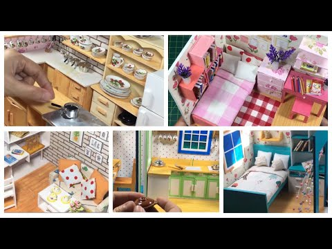 5 DIY Miniature Dollhouse: Kitchen, Bedroom, Living Room