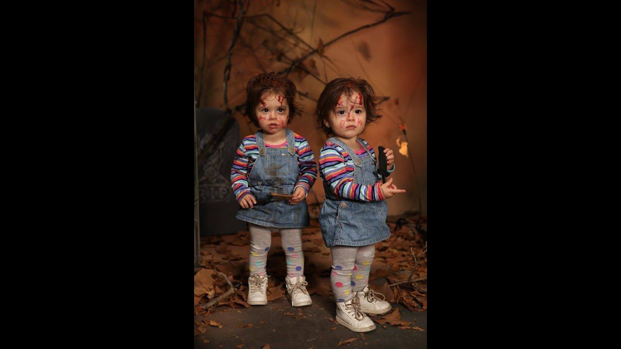 Halloween disfraz chucky ni os facil y barato gemelas - Disfraces bebe halloween ...