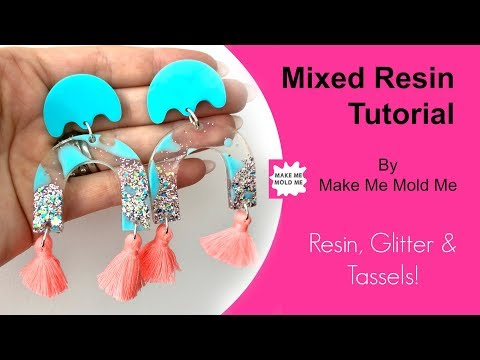 Solid Resin Colour Tutorial Glitter Earring Tutorial | How to use resin | How to colour resin