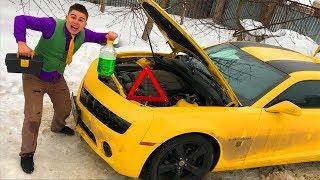 Mr. Joe on Broken Chevy Camaro & Repair in Car Service w/ Car won't start on Funny Race for Kids