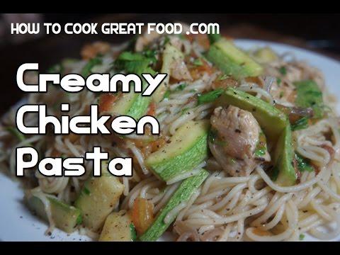Creamy Chicken Pasta Recipe - Super fast Cream Spaghetti