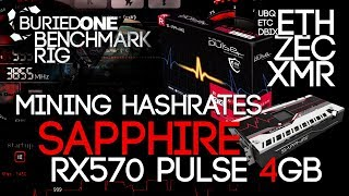 Sapphire RX570 PULSE 4GB Crypto Mining Benchmarks: ETH/UBQ/ZEC/XMR