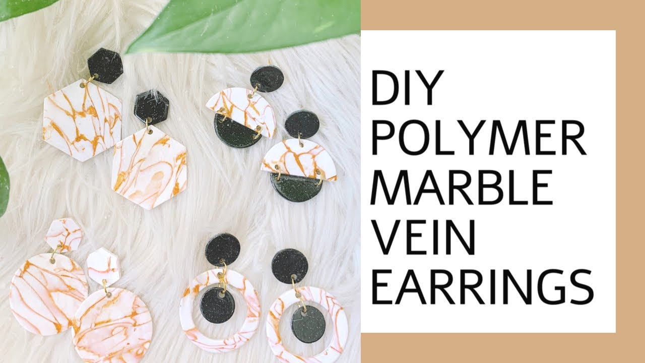 Ear Studs Marble Dime in Citrine Polymer Clay Earrings