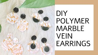 DIY Polymer Clay Gold Marble/ Vein Earrings Tutorial   How To Make Polymer Clay Earrings