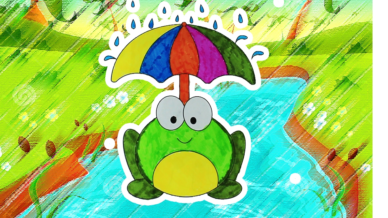 coloring a frog in the rain with umbrella coloring pages for