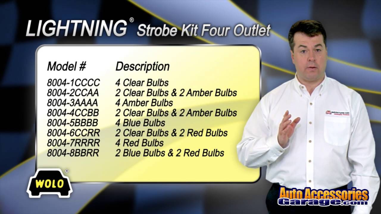 Wolo 8104XL-7RRRR 4 Red Bulbs Lightning XL 80 Watt Power Supply Four Bulb Emergency Warning Strobe Kit