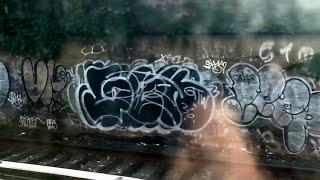 Graffiti along the Coney island bound q subway