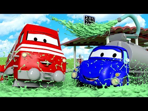 Troy The Train and Tyson the Tanker in Car City | Cars & Trucks cartoon for children