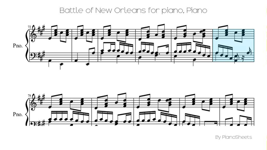 Battle Of New Orleans For Piano Piano Solo Youtube