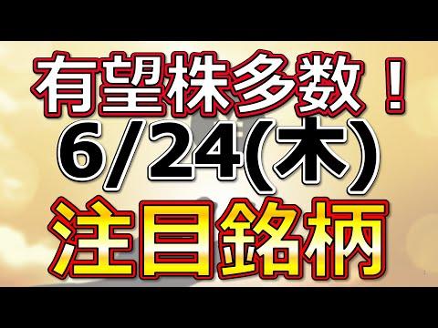 有望株多数!【6月24日(木)の注目銘柄まとめ】本日の株式相場振り返りと明日の注目銘柄・注目株・好材料・サプライズ決算を解説、株式投資の参考に。Japan stock market today
