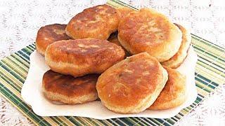 Постный рецепт. Жареные пирожки с грибами из дрожжевого теста.