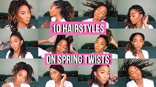 How To: 10 HAIRSTYLES on SPRING TWIST TUTORIAL | Natural Hair