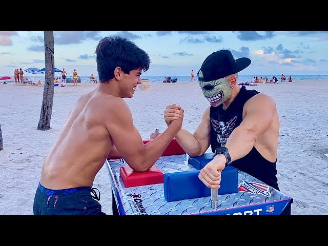 $500 IF YOU WIN! Halloween Armwrestling with Random People