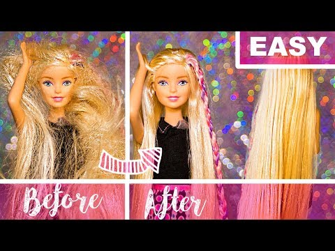 HOW TO FIX DOLL HAIR - EASY TUTORIAL with NO fabric softener - barbie doll