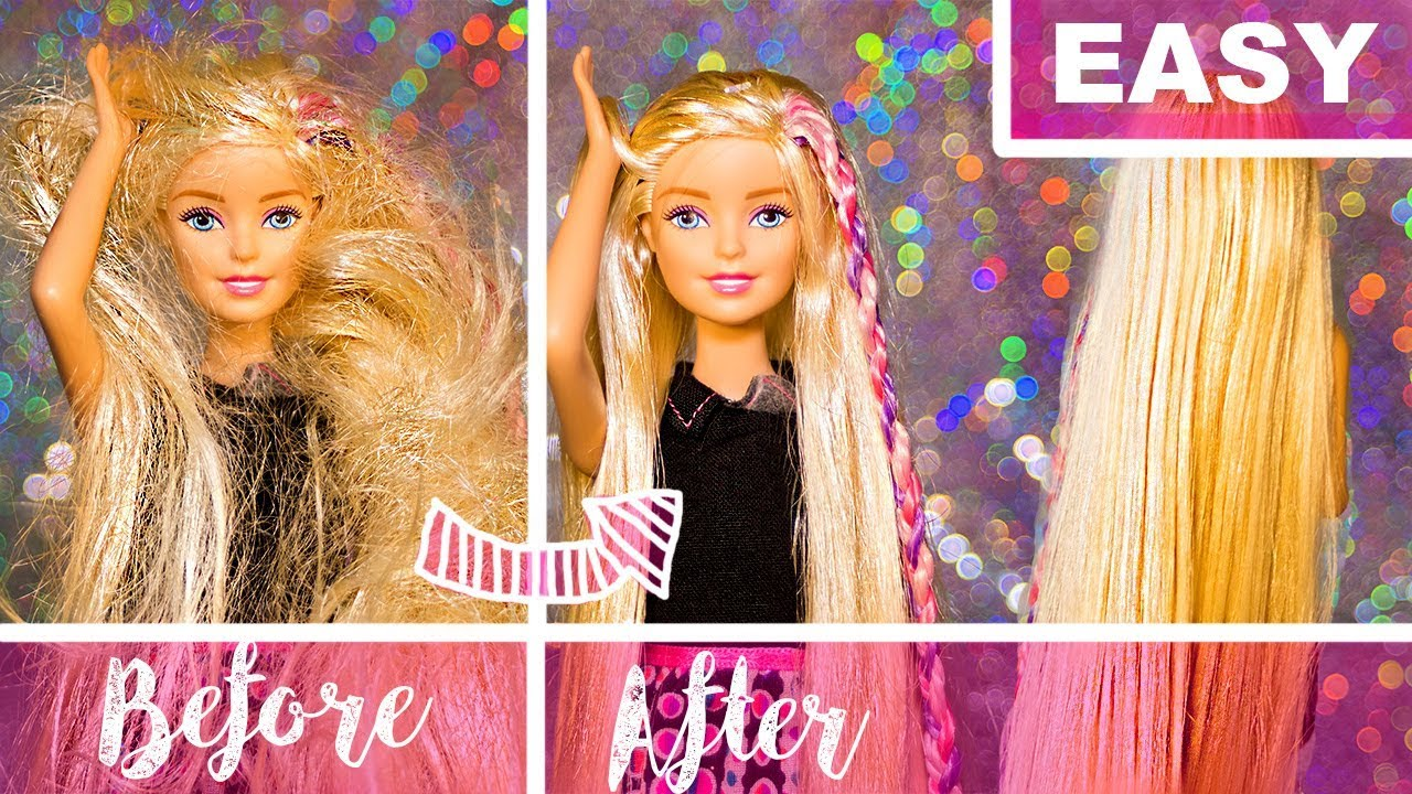 How To Fix Doll Hair Easy Tutorial With No Fabric Softener Barbie Doll Youtube