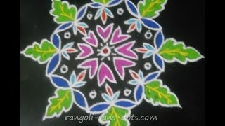Rangoli without dots - petals , leaf designs - freehand kolam