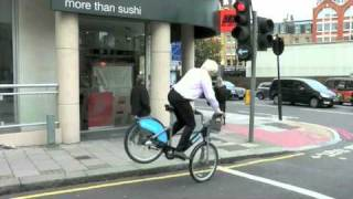 Boris trick-jumps a TFL bike across London